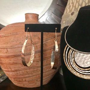 NEW! Robert Lee Morris Gold Hammered Hoop Earrings